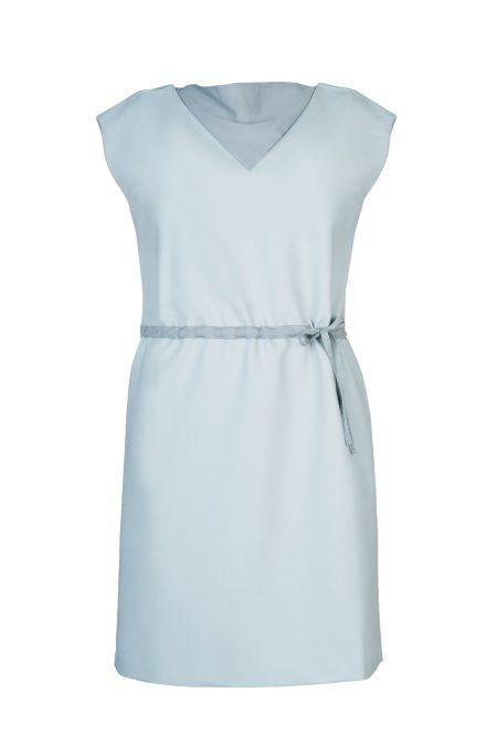 Natural silk collar tencel dress