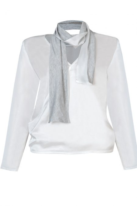Natural silk blouse with scarf