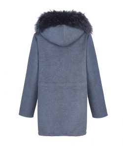 """Parka"" natural merino wool & cashmere decorated with fox fur 3"