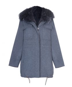 """Parka"" natural merino wool & cashmere decorated with fox fur 1"
