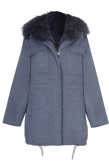 """Parka"" natural merino wool & cashmere decorated with fox fur"