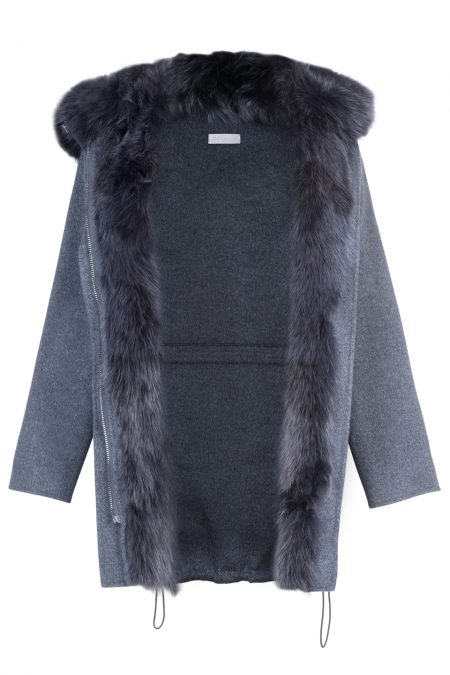 """Parka"" natural merino wool & cashmere decorated with fox fur 2"