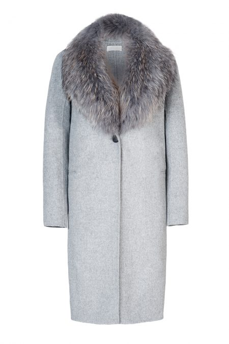 Cashmere/Wool coat with natural fox fur collar 1