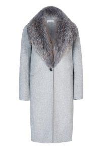 Cashmere wool coat gray women coocoomos natural fox fur paltas moteriškas kašmyras vilna natūralus lapės kailis pilkas