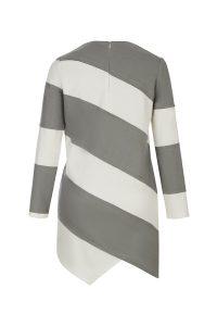 Tencel wool dress gray white woman coocoomos tencelio vilnos suknė tunika pilka balta nugara back