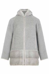 Cashmere wool coat gray women coocoomos natural mink fur paltas moteriskas kasmyras vilna naturalus audines kailis pilkas