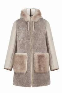 Cashmere wool coat gray women coocoomos natural muton fur paltas moteriskas kasmyras vilna naturalus avikailis rudas