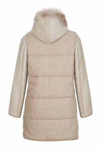 Cashmere wool coat gray women coocoomos natural muton fur paltas moteriskas kasmyras vilna naturalus avikailis rudas nugara