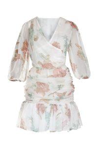 Flowery silk dress woman dress natural fabric ecological fabric coocoomos geleta silko suknele ekologiskas audinys naturalus audinys-min