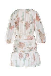Flowery silk dress woman dress natural fabric ecological fabric coocoomos geleta silko suknele ekologiskas audinys naturalus audinys nugara-min