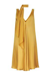 Yellow silk dress woman dress ecological fabric coocoomos geltona šilko suknele ekologiskas audinys tunika 2