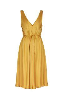 Yellow silk dress woman dress ecological fabric coocoomos geltona šilko suknele ekologiskas audinys tunika 3