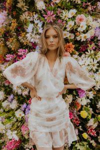 Flowery silk dress woman dress natural fabric ecological fabric coocoomos fashion photography geleta silko suknele ekologiskas audinys naturalus audinys mados fotografija-min-min