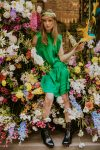 Green silk dress woman dress ecological fabric coocoomos fashion photography zalia šilko suknele ekologiskas audinys mados fotografija 1