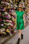 Green silk dress woman dress ecological fabric coocoomos fashion photography zalia šilko suknele ekologiskas audinys mados fotografija 2